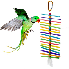 1 pcs Parrot toys Bite Hanging Cage Accessories Wheel String Birds Toys Colorful Wooden chips for Bird Supplies
