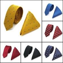 Высокое качество 5 см мужской шелковый галстук(галстук и носовые платки) клетчатый узор в горошек обтягивающие узкие галстуки Hanky Свадебная вечеринка