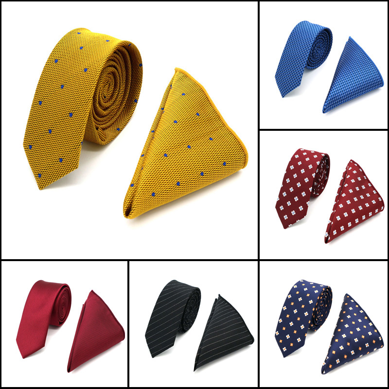 High Quality 5CM Men's Silk Neck Tie Set ( Necktie & Handkerchiefs ) Plaid Polka Dot Skinny Slim Narrow Ties Hanky Wedding Party