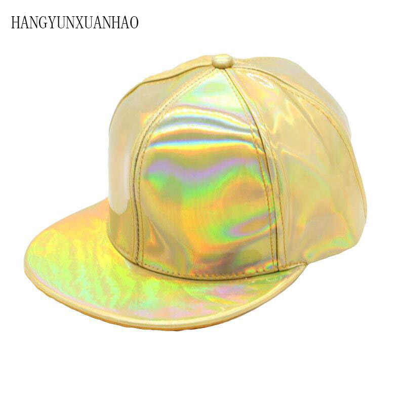 2019 Fashion Unisex Silver Laser Baseball Cap Men Hip Hop Holographic Casquette Women Snapback Rainbow Basketball Hat