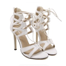 Women Pumps Brand Design High Heels Cut Outs Lace Up Open Toe Party Shoes Woman Gladiator Sandals Lady Zapato Mujer Sexy Strappy