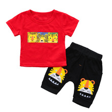 Toddler Baby Boy Summer Clothes Novelty Short Sleeve T-shirt+Black Cartoon Shorts 2pcs Infant Clothing Tracksuit Outfit