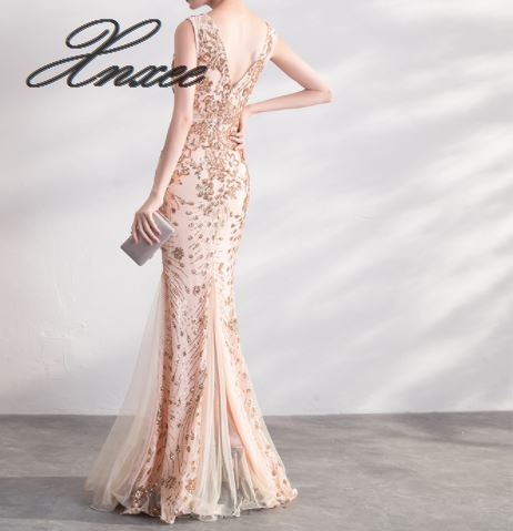 Image 2 - Gold Color Sequin Dresses Long Elegant Party Women Gowns-in Dresses from Women's Clothing