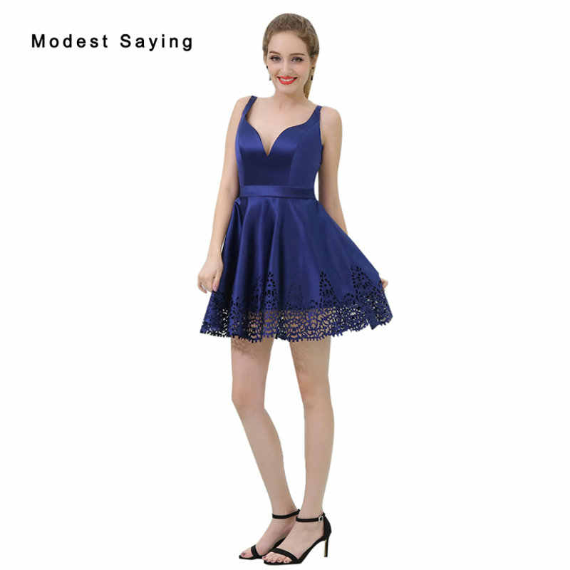 ea03b0b82ab Sexy Backless Blue A-Line Short Cocktail Dresses 2018 with Straps Girls Mini  Cut-