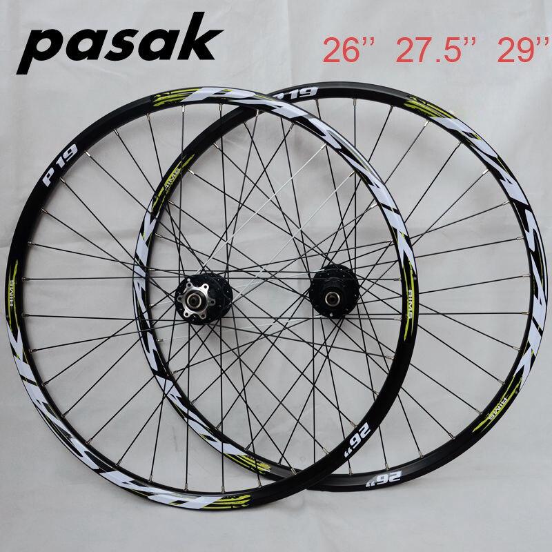 купить Hot Wheel ! PASAK P19 26 27.5 29 MTB Mountain Bicycle Bike CNC Front 2 Rear 4 Sealed Bearings 32 Holes Disc Wheelset недорого
