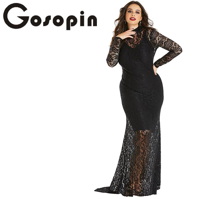 a41678be24 US $27.38 41% OFF|Gosopin Plus Size Sexy Party Dress Long Sleeve Elegant  Lace Fishtail Maxi Dress Winter Spring Christmas Dress Vestidos LC610971-in  ...