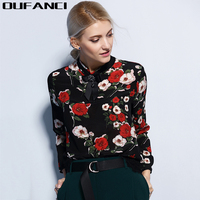 OUFANCI 2017 Spring New Fashion Lace Shirt Women Clothing Blouses Women Tops Stand Collar Diamonds Bow
