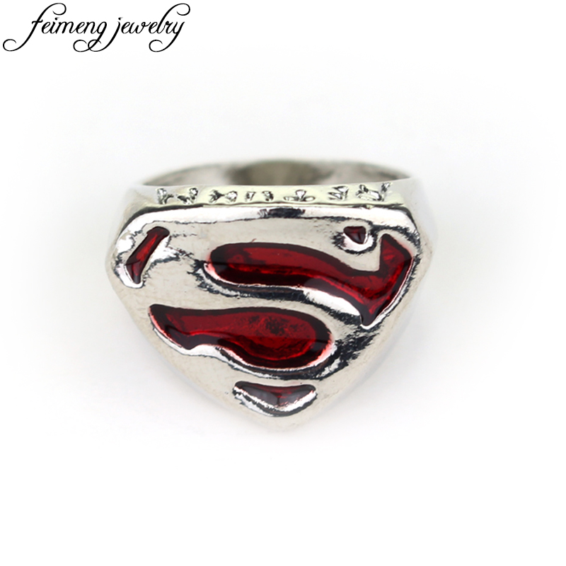 DC Comics Super Hero Superman Ring Red Enamel Superhero S logo Rings For Women Men Fashion Cool Jewelry Accessories ...