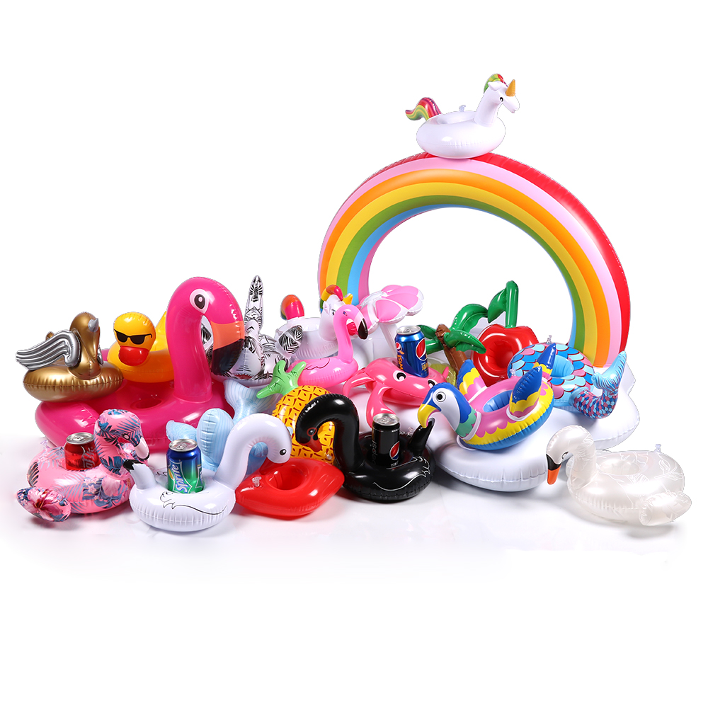 17 Types Mini Floating Cup Holder Pool Swim Float Water Toy Party Beverage Boats Baby Pool Toys Inflatable Flamingo Drink Holder