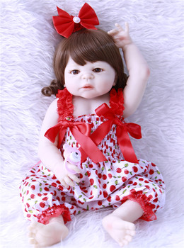 NPKCOLLECTION 55CM Soft Silicone Reborn Dolls Baby Realistic Doll Reborn Full Vinyl Boneca Bebes Reborn Doll For Girls