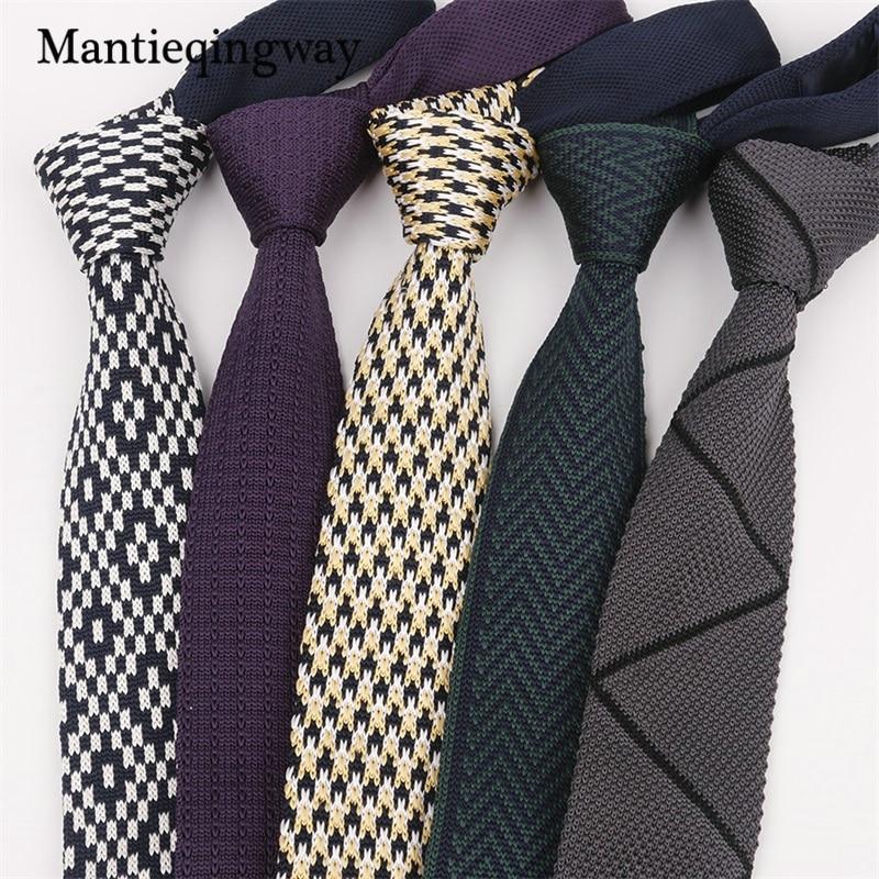 pretty nice 61828 9cf44 Mantieqingway Klassische Gestrickte Krawatten für Männer Dünne Schmale  Krawatte Gravata Schlank Hochzeit Bogen Krawatte Wovean Stricken Kragen ...