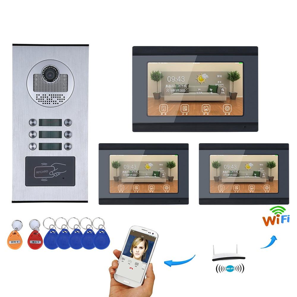 7-дюймовый записи проводной Wi-Fi 3/4/5/6 квартира/Семья телефон видео домофон Системы RFID IR-CUT HD 1000TVL Камера с 6 Кнопка