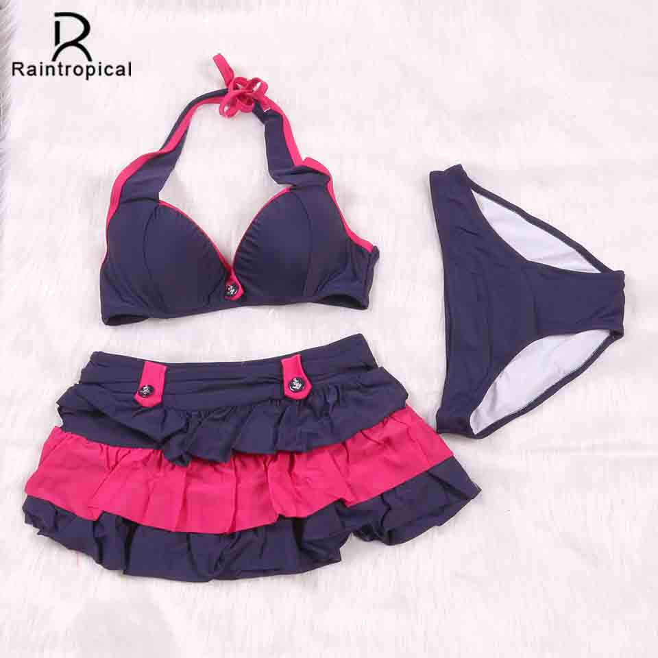 Raintropical 2019 New Sexy Women Swimsuit Three Piece Bikinis Female Summer Bikini Set Push Up Beach Bathing Suits Dress Biquini