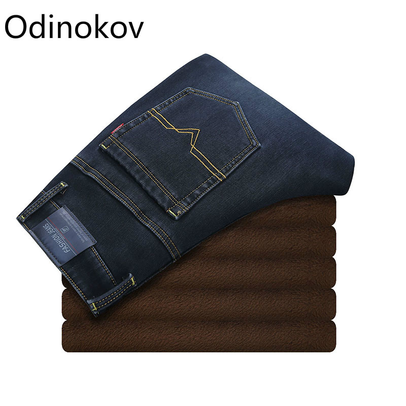 Odinokov Brand Mens Winter Stretch Thicken Jeans with Warm Fleece High Quality Denim Jean Pants Trousers Size 28-35-42 new arrival winter fleece warm jeans high quality men blue denim plus size pants thicken jean slim trousers 100607
