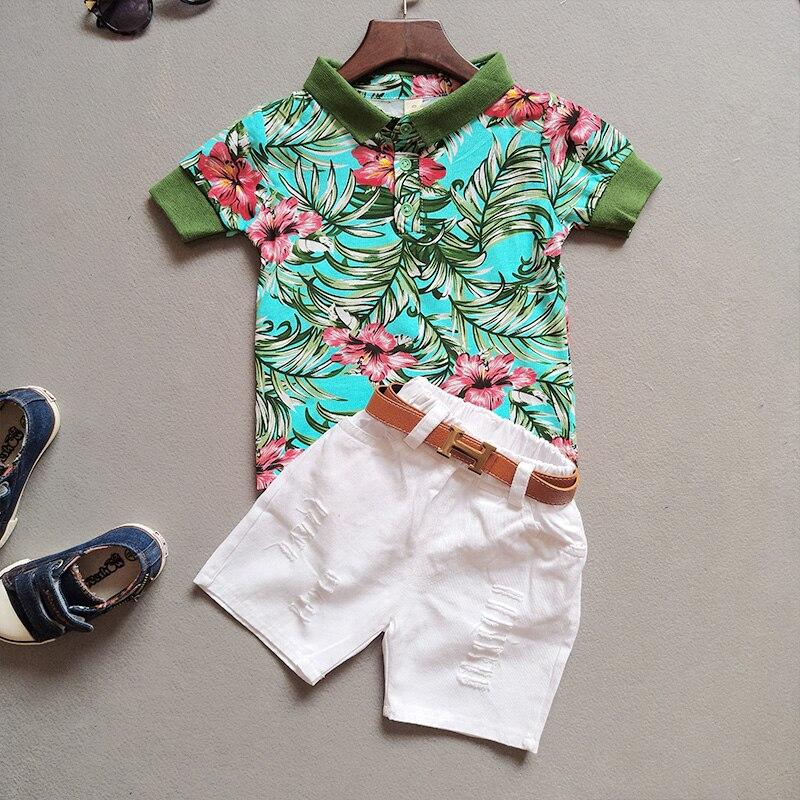 Boy Kids Suits 2018 New Summer Shorts Sleeve Cute Boys Sets Cotton T-shirt + Pants 2 Pieces Set Children Clothes Costume 4cs468