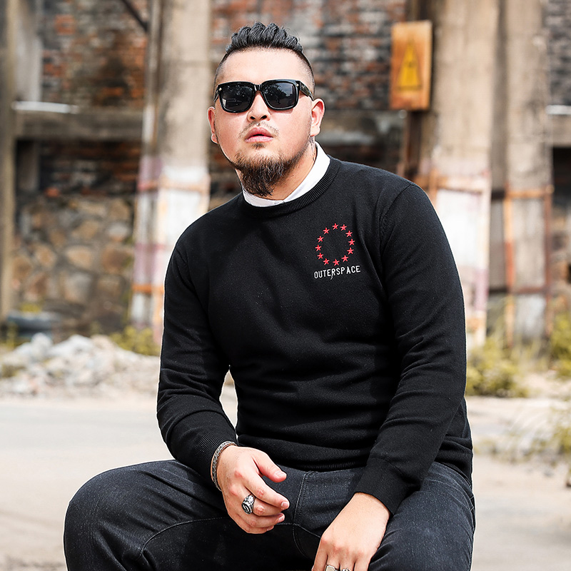 Men Sweater O-Necked Solid Color With Star Pattern With Letters XL-6XL For Fat Big Size
