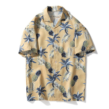 цена на Summer Short Sleeve Thin Shirt Men's Loose Beach Flower Shirt Seaside Holiday Travel Cartoon Fruit Pineapple Print Shirt Top