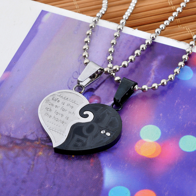 0884e1ef61 Je hart de helft Stainless Steel Necklaces New High-end