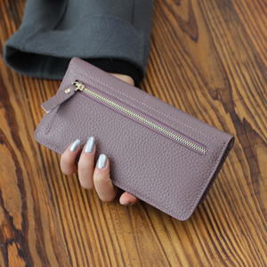 Image 2 - Genuine Leather Women Wallet Fashion Solid Color Coin Purse Multifunctional Cowhide Female Long Women Purses Zipper Card Holder