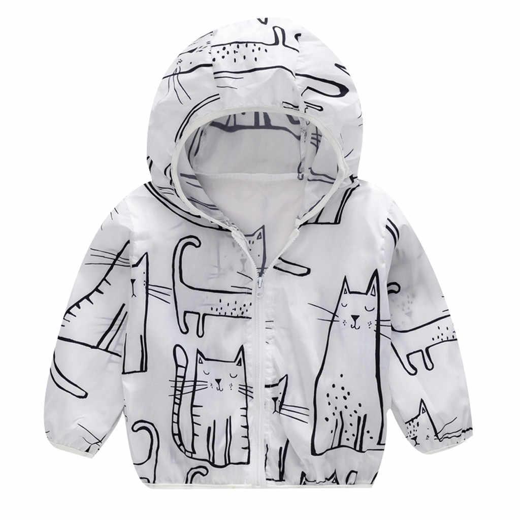 เด็กเด็กวัยหัดเดินเด็กฤดูร้อนครีมกันแดดแจ็คเก็ตพิมพ์Hooded Outerwear Zipper Coatsเด็กสาวDrop Shipping