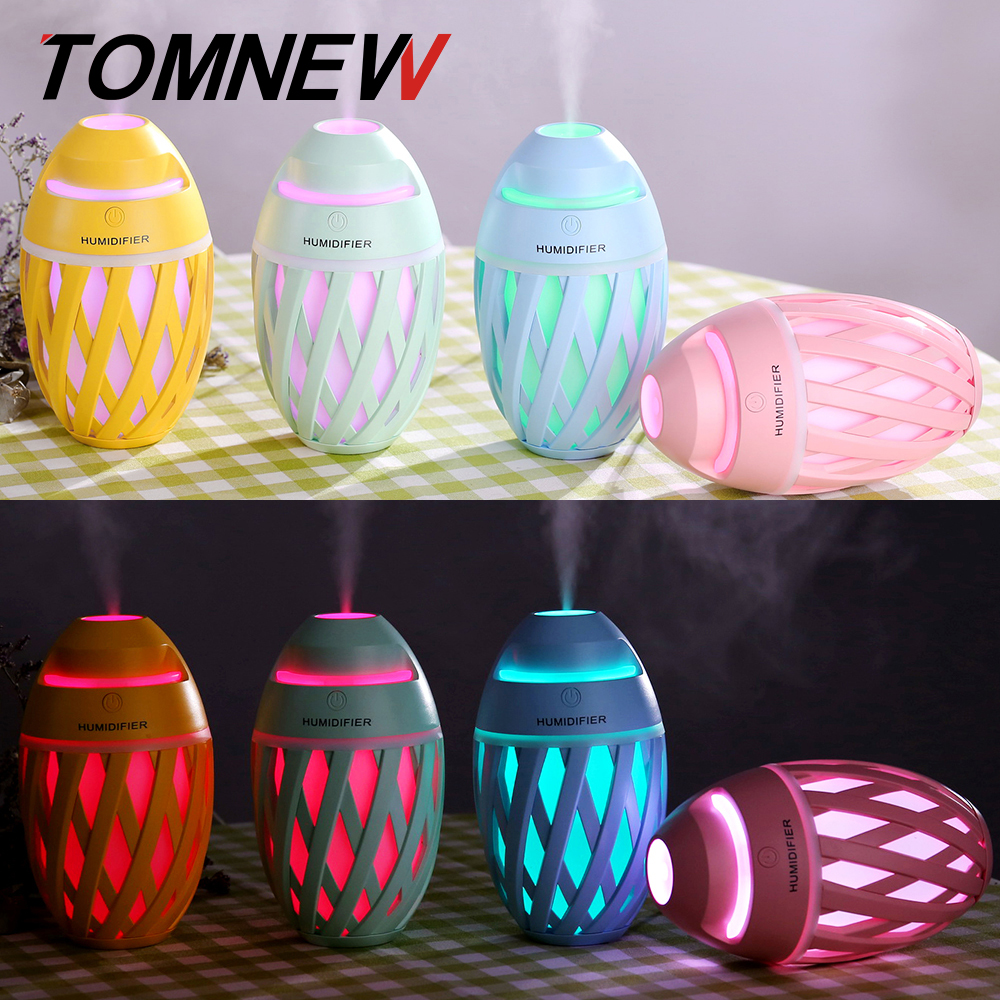 TOMNEW 320ML Mini Cool Air Humidifier USB Portable Ultrasonic Olive Air Cleaner Diffuser with LED Light for Home Office or Car