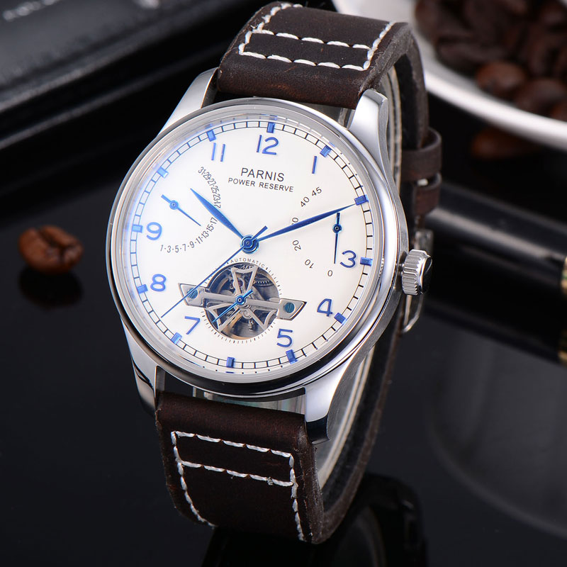 лучшая цена 43mm Parnis white dial calendar Power Reserve Automatic men watch Seagull movement Leather Strap