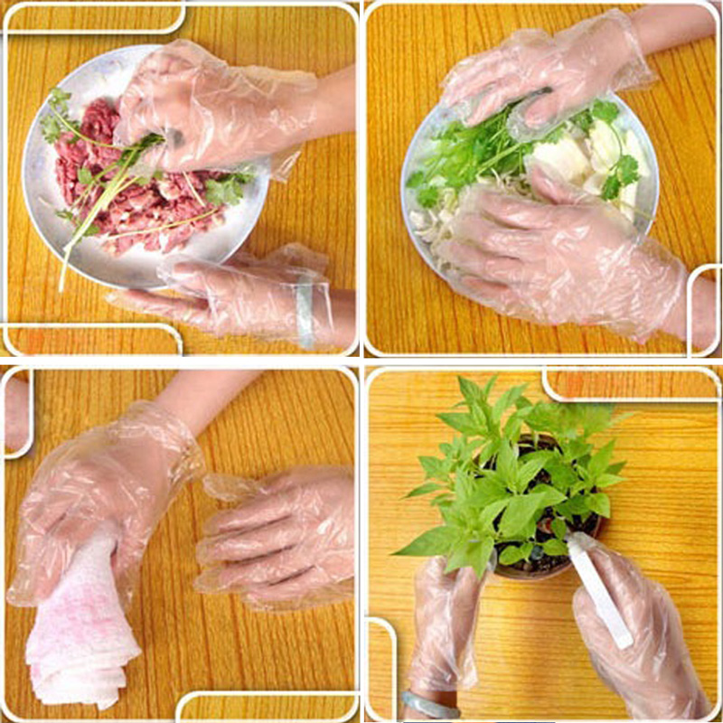 Gants jetables écologiques | 100 pièces/ensemble gants en plastique One-off pour la cuisine, le nettoyage, la cuisson et les fournitures de traitement de BBQ