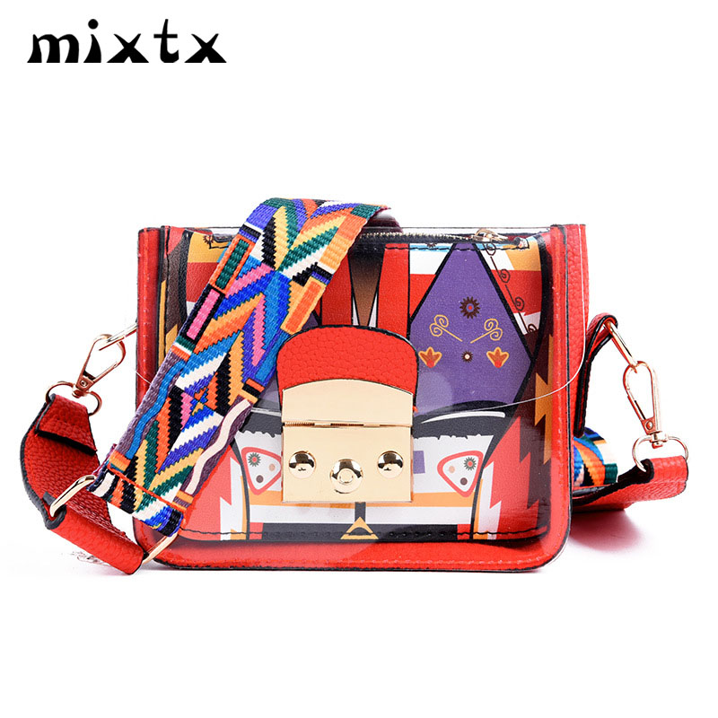 mixtx 2019 Fashion Transparent Funny Crossbody Women Beach Shoulder Bag Jelly Crystal Totes Sweet Ladies PVC Clear Composite