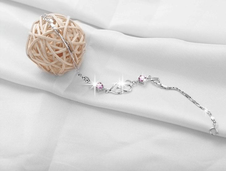 100 925 sterling silver romantic double love heart shiny crystal ladies bracelets jewelry women bracelet no fade drop shipping in Chain Link Bracelets from Jewelry Accessories