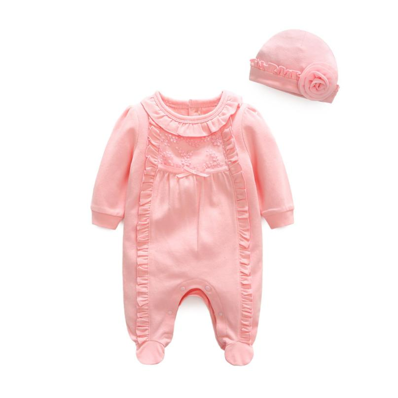 Infant Baby Girl clothes o-neck bebe girl winter clothes Princess Romper Jumpsuit+Hat Set l1211 cupcake birthday outfits leopard baby romper dress headband shoes infant lace tutu set roupa bebe menina winter girl clothes