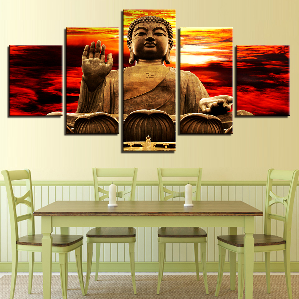 Canvas Pictures Modular Living Room Decor Framework 5 Pieces Sunset ...