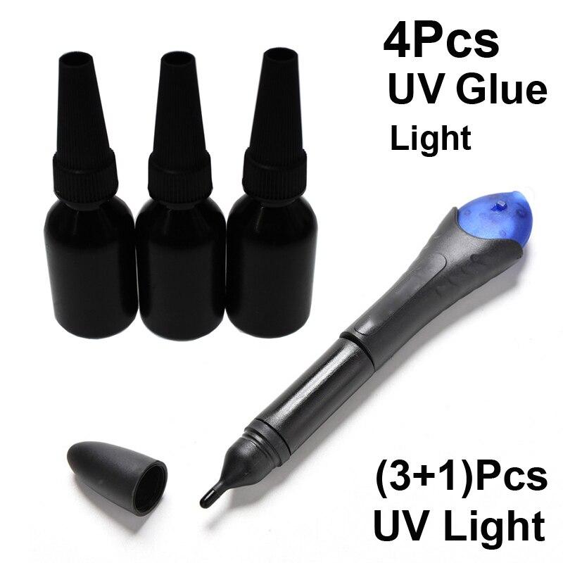 4Pcs/Set Liquid 5 Seconds Five Fix Glue with 3Pcs UV Bottle Glue Plastic Metal Rubber Textile Plastics Adhesive Stationery Store