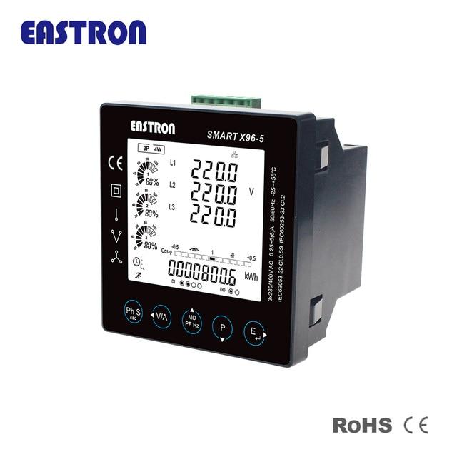 Smart X96 5j Three Phase Panel Multi Function Energy Meter With Modbus Measure Kwh Kvarh Kw Kvar Kva P Pf Hz Dmd V A Thd