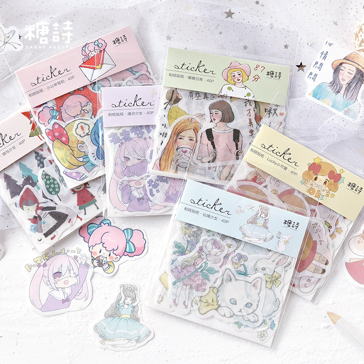 40pcs/pack Story Of Wolf And Girl Decorative Washi Stickers Scrapbooking Stick Label Diary Stationery Album Stickers