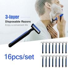 16Pcs/Set Razor Blades For Men Hair Removal Safety Disposable Razors Three Layer Blade Manual Shaving Holder