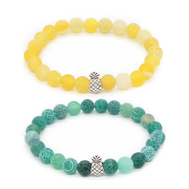 Poshfeel Pineapple Charm Bracelets For Women And Men Jewelry 8Mm Natural Stone Beaded Bracelets Bangles Pulsera