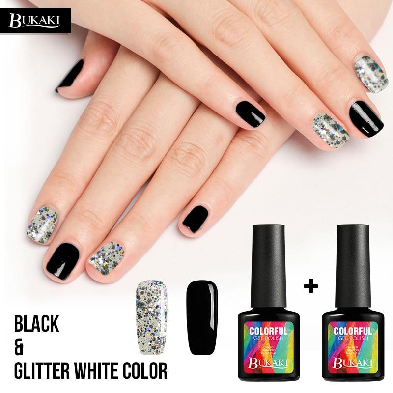 Black Gel Nail Polish: Aliexpress.com : Buy BUKAKI 3D White Black Glitter Color