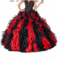 Cheap Quinceanera Gowns Sweetheart Beading Red And Black Dress For Years Vestido Longo Organza Quinceanera Dresses Ball Gown