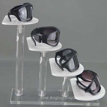 Eyeglass Display Rack Clear and White Acrylic 4 Tier Sunglasses Showcase Holder Jewelry Display Shelf