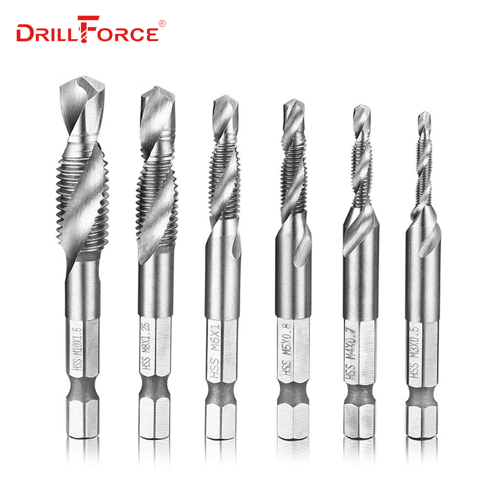 6PCS M3-M10 Screw Tap Drill Bits HSS Taps Woodworking Metric Combination Bit High Speed Steel Bright 1/4