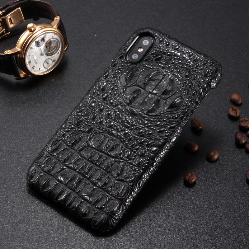 new product e728a 7df44 US $21.99 35% OFF|Luxury Imitation Crocodile Head Leather Phone Case For  iPhone X Stylish Genuine Leather Hard Back Cover For Apple iPhone X  Cases-in ...
