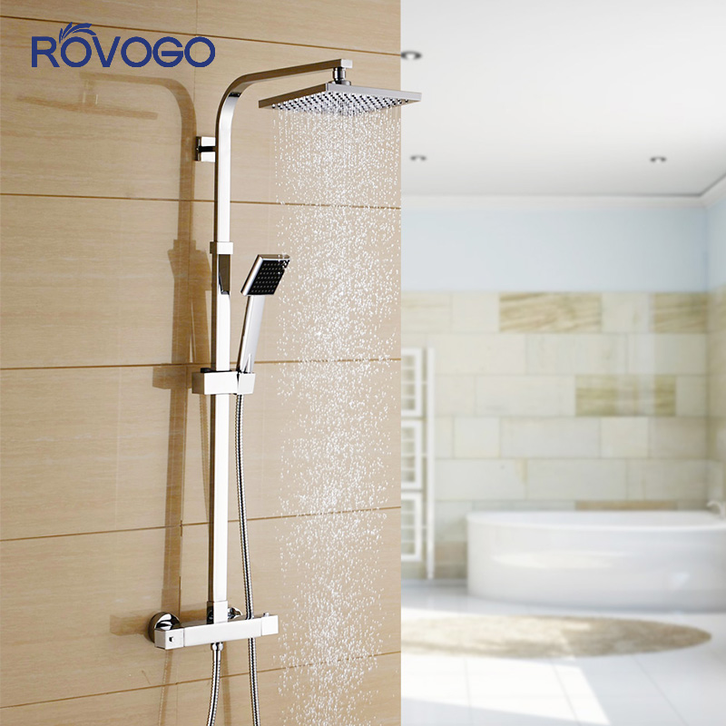 ROVOGO Brass Bathroom Faucet Intelligent Thermostatic Shower Set Cold And Hot Water Tropical Shower Solar Panel And Shower Head