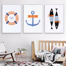 NUOMEGE Nordic Navy style Lifebuoy Fish Art Canvas Poster Print Picture for Living Room Picture Decoration