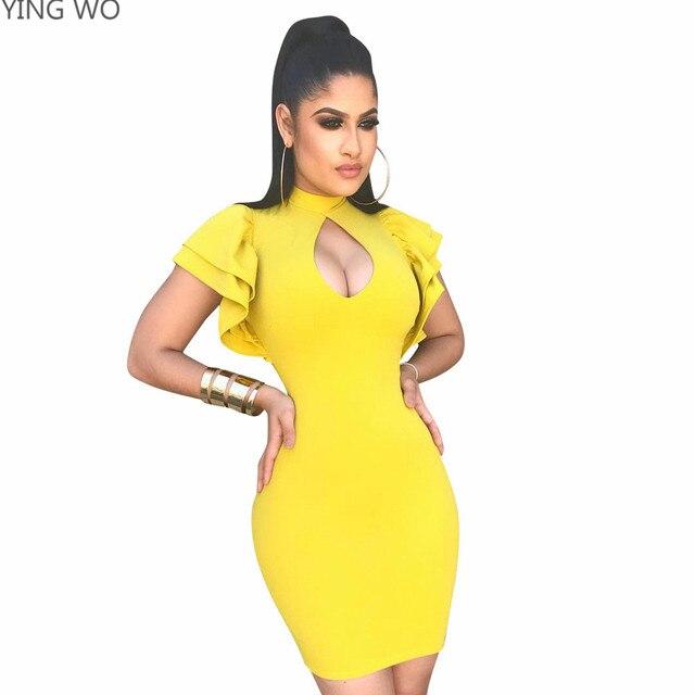 Yellow Black Mini Dress