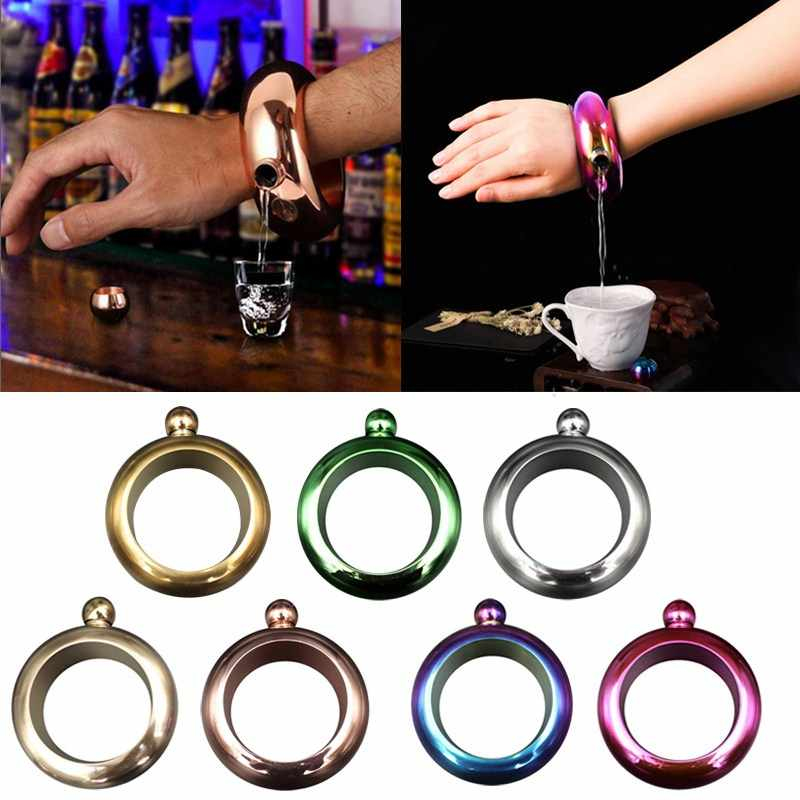 Portable Hip Flask Funnel Bangle Jug 3.5oz Wine Mixed Bottle Alcohol Bracelet Stainless Steel Camping Flagons Drinkware Supply