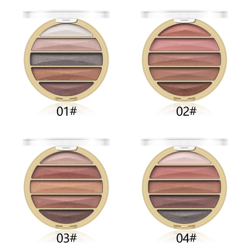 2019 5Color Gold Pearl Matte Eye Shadow Nude Makeup Earth Color Portable Eye Shadow Tray Eyeshadow Powder