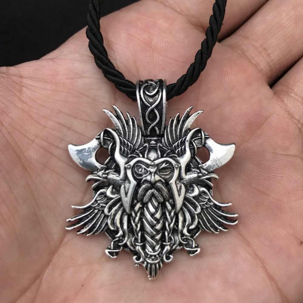 1 sztuk Viking Odin Helena Rosova naszyjnik wisiorek pogan mężczyźni wisiorek biżuteria Norse Viking krzyż Raven podwójne osi darmowa wysłać