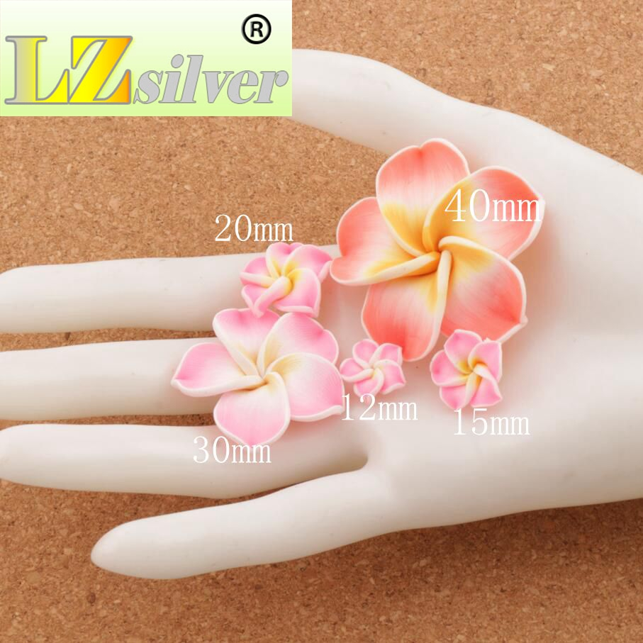 17pcs Handmade Clay Lily Flower Beads Colorful Polymer Clay Plumeria Flowers L3104 20mm in Beads from Jewelry Accessories
