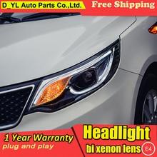 Автомобильный Стайлинг головной светильник s для Kia K2 Rio светодиодный аксессуары для автомобиля товары для автомобиля налобный светодиодный дневной ходовой светильник светодиодный DRL Bi-Xenon HID