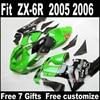 Best Price Body Kit For Kawasaki ZX6R Fairing Kits 2005 2006 Plastic Green Black Parts 05